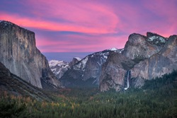 Yosemite national park, california iconic view, tunnel view, sunset with pink sky