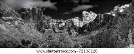 Yosemite Valley after a winter snowstorm.  Lots of detail in this panorama of eleven stitched files which includes El Capitan, Half Dome, Bridalveil Fall and more.   True infrared photography.