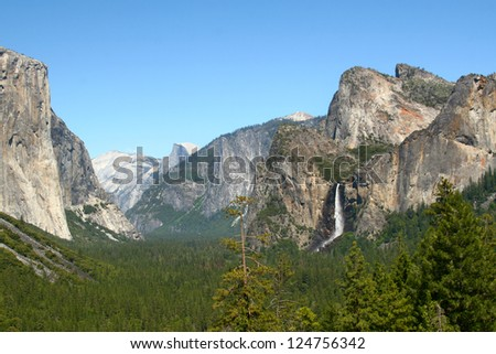 Yosemite Valley and Bridal Vail Falls from Tunnel View Point