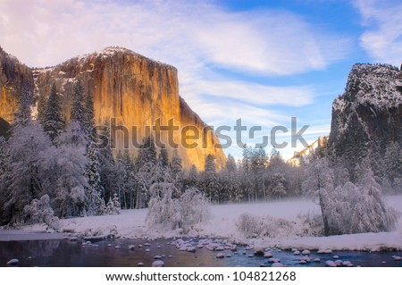 Yosemite valley in California during winter