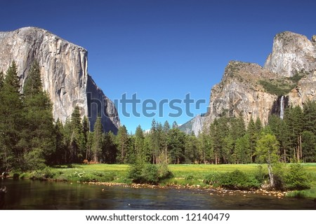 Yosemite Valley is a world-famous scenic location in the Sierra Nevada mountains of California.