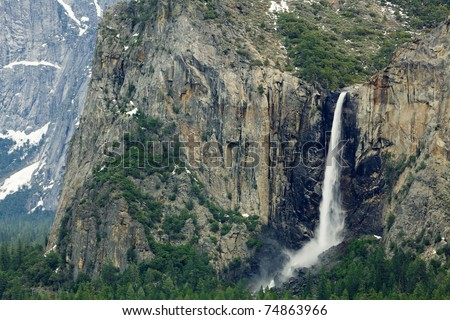 Yosemite Valley's Bridal Veil falls with a portion of the valley in the background