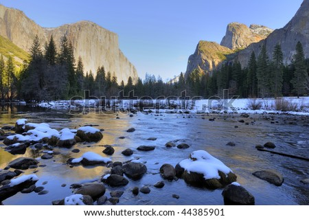 Yosemite Valley View in winter season, Yosemite National Park, California