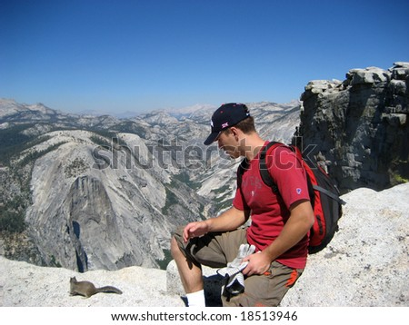 Yosemity, Tourist looking at mountains