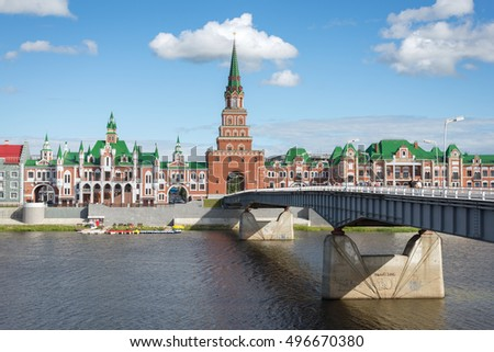 Shutterstock Yoshkar Ola city, Mari El, Russia. The Waterfront Brugges. Fairy town with a beautiful promenade. Spasskaya tower stands on a unique buildings.Theatrical bridge connects the banks of the river