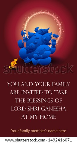 You all and your family are invited to take the Blessings of Lord Shri Ganesha at my home. this message is written Marathi language. invite for Ganesha festival Maharashtra, India