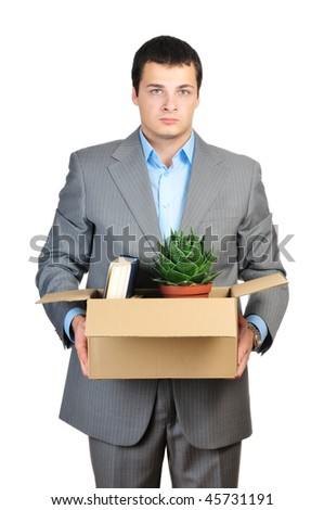 You are fired! Young businessman hold cardboardbox with personal belongings isolated on white background