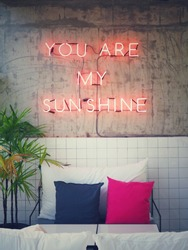 You are my sunshine neon lights on Industrial Architecture Concrete Wall