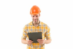 You deserve very best master. Master builder isolated on white. Happy master at work. Constructor wear protective helmet. Construction master plan. Constructing and building. Renovation and repair.