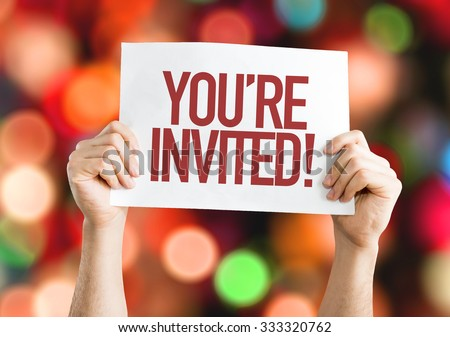 You're Invited! placard with bokeh background #333320762