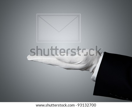 You've got mail. Elegant human hand serving transparent mail icon