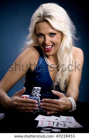 young a woman playing poker