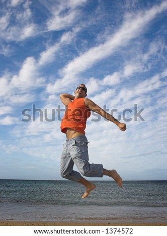 Young active man making a big jump