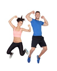 Young active sportswear jumping with isolated on white background