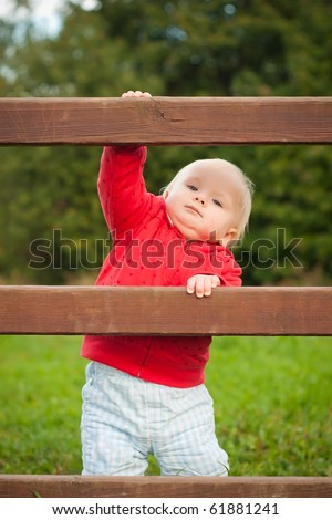 young adorable baby climbing the wood fence in park