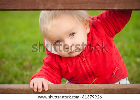 young adorable baby looking between the wood fence in park