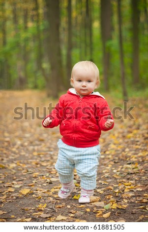 young adorable baby walk by road in leaves  in park forest