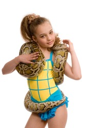 young adorable girl with pet snake on her shoulders, isolated on white background