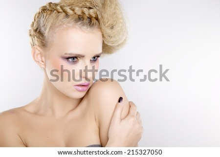 Young adult attractive and pretty sensuality woman with beautiful blond hairs and multicolor makeup isolated on white background #215327050