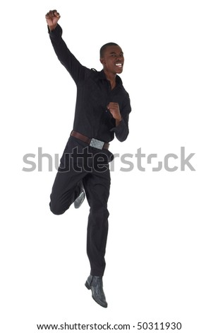 Young Adult black african businessman wearing a dark smart-casual outfit on a white background. Not Isolated.