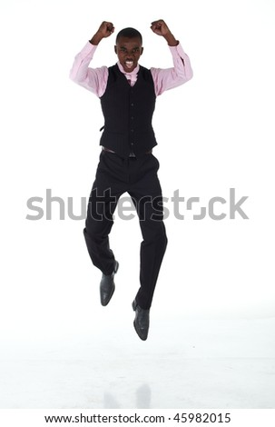 Young Adult black african businessman wearing a dark smart-casual outfit with a pink shirt and a dark waistcoat on a white background. Not Isolated.
