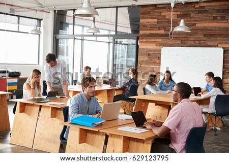 Young adult colleagues working in an open plan office