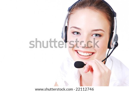 stock photo young adult cute operator in the headset studio shot on a white background 22112746 When I imagine having gothic sex with Liz (and I do that pretty often), ...