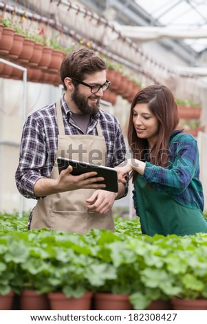 Young adult garden worker in apron using digital tablet at greenhouse