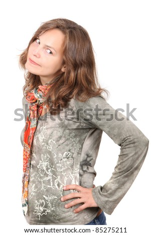 Young adult girl - looking down