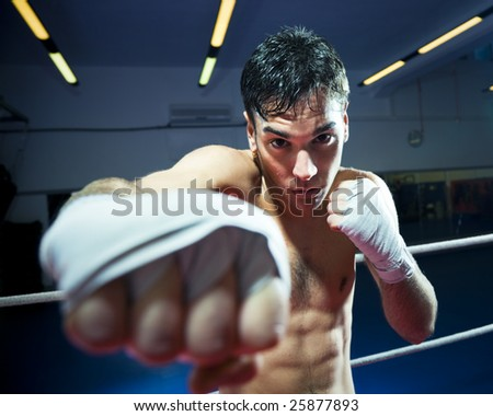young adult man boxing in gym. Copy space