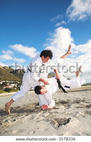 Young adult men with black belt practicing fighting on the beach on a sunny day – movement on extremities