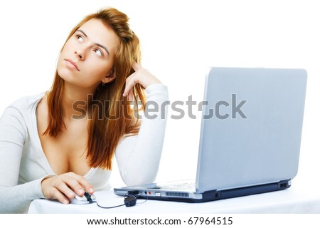 young adult red haired business lady  over white frustrated with her computer