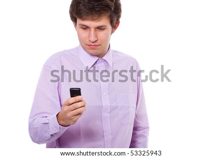 stock photo young adult sending text message from his phone isolated on white 53325943 purno sex video free