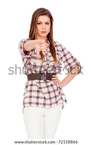 stock photo : young adult woman giving thumbs down. isolated on white