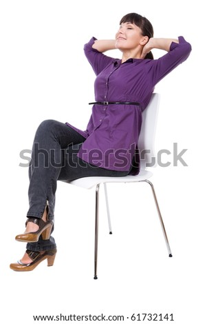 young adult woman sitting on chair. over white background