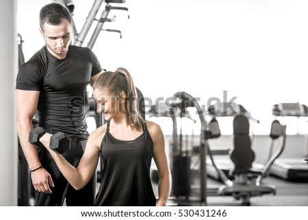 young adult woman working out...