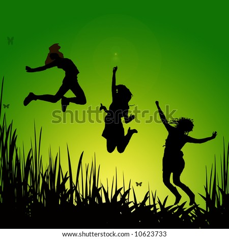 young adults jumping - illustration
