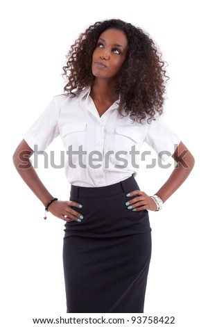 Young african american business woman looking up, isolated over white background