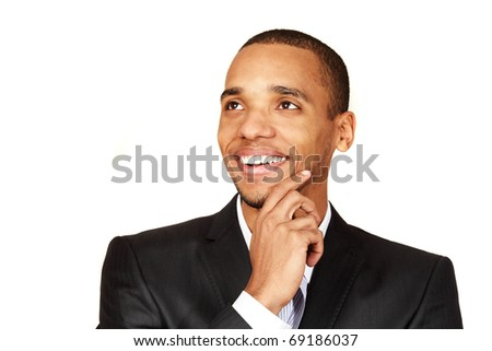 Young african-american businessman looking to the future with smile isolated on white background
