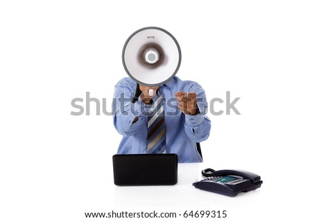 Young African American businessman with a megaphone in front face, pointing. Studio shot. White background.