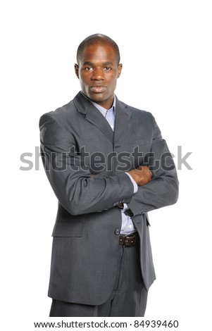 Young African American Businessman with arms crossed isolated on a white background