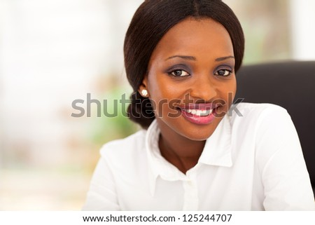 young african american businesswoman closeup portrait in office