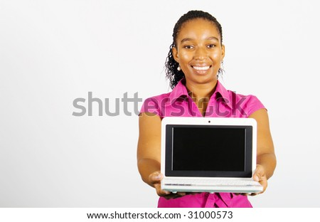 young african american businesswoman presenting a laptop