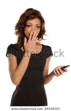 Young African American Businesswoman with cell phone expressing surprise