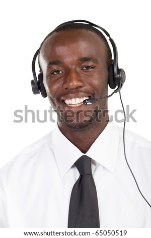 young african american call center consultant with headset on white