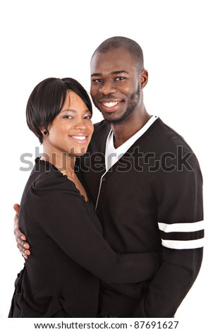 Young African American Couple Closeup Happy Portrait Isolated