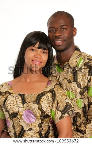 Young African American Couple Wearing Colorful Costume Closeup Happy Portrait Isolated