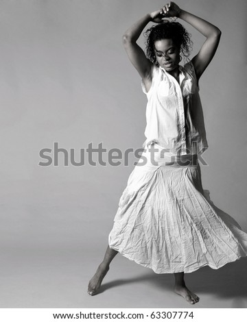 Young african american dancer in studio.