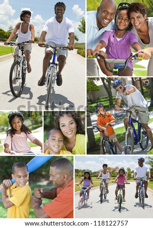 Young African American families, women, men, father, mother boy girl children riding bicycles in the summer and being active playing baseball stock photo