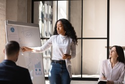 Young African American female coach or speaker make whiteboard presentation for diverse employees in office, focused biracial woman trainer present business project on flip chart at meeting